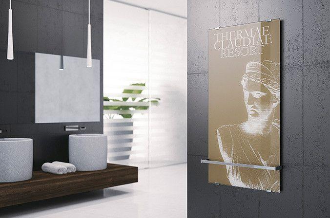 Elektrische designradiator van glas met print - Radiator Sole van Novelllini