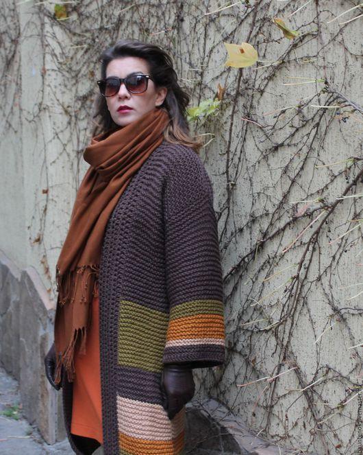 """Кофты и свитера ручной работы. Ярмарка Мастеров - ручная работа. Купить Кардиган вязаный  """"Поздняя Осень"""". Handmade. Коричневый"""