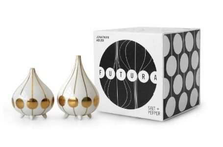 """Jonathan Adler Futura Salt & Pepper by Jonathan Adler. $48.00. 8572. Precious metal and posh porcelain brought together for a thoroughly modern look. Inspired by some of our most iconic pottery, Jonathan Adler created a new range of Salt and Pepper shakers. Perfect as a hostess gift. Added bonus--the packaging is as irresistible as the product.Product Measures: (Salt Shaker) 4"""" high (Pepper Shaker) 3"""" high (Box Size) 5"""" wide x 5"""" deep x 5"""" tall Material: PorcelainManufactur..."""