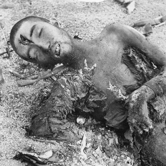 Dead Japanese soldier, Iwo Jima, 1945.