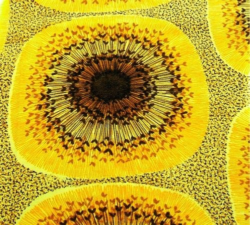vintage sunflower fabric yellow gold I want to make a ...