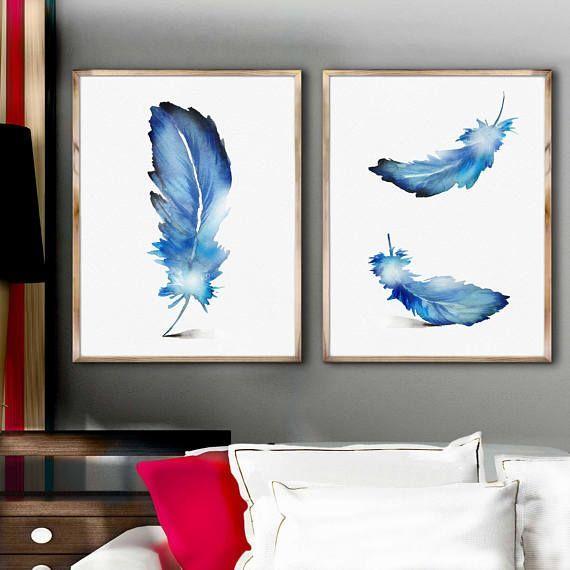 Blaue Feder Aquarell Set 2 Gemalde Federn Poster Minimalistische