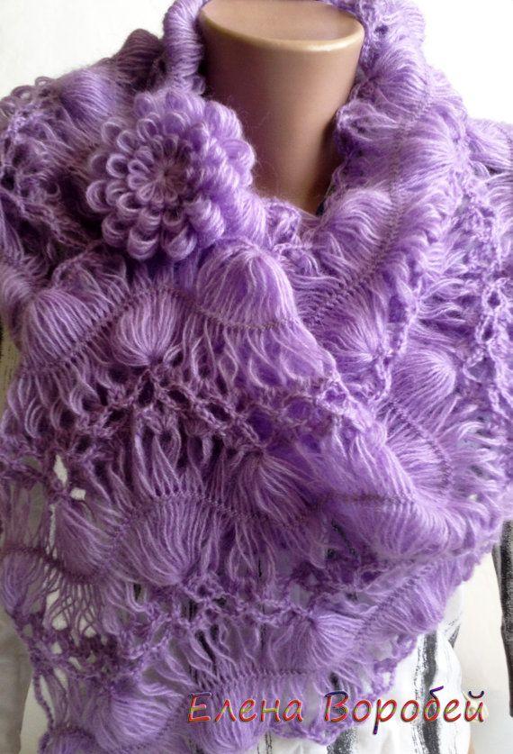 Set Hairpin Loom scarf cap and brooch Lavender 2 by ElenaVorobey