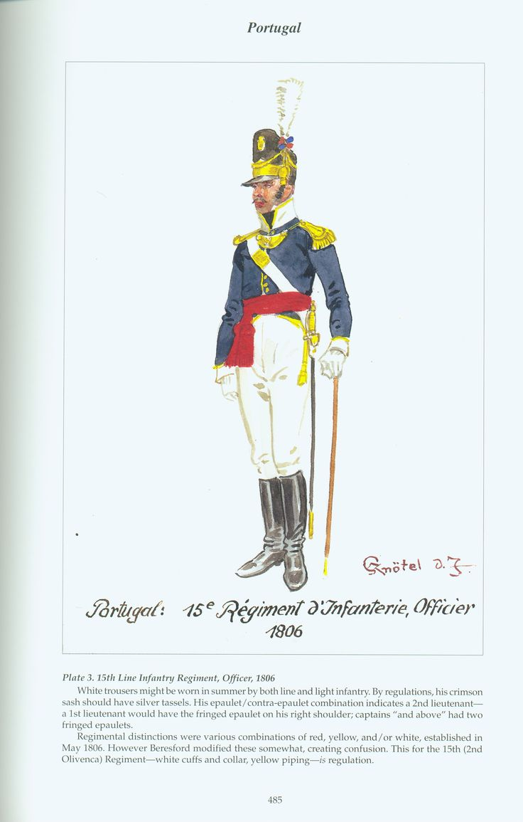 Portugal: Plate 3. 15th Line Infantry Regiment, Officer, 1806