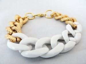 Chunky Link Bracelet with White & Gold Links