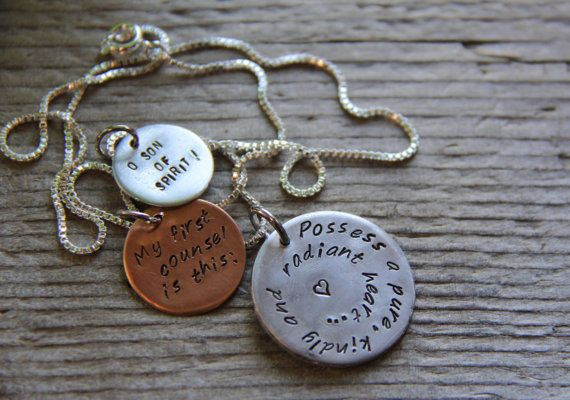 Hand-stamped pendant with Bahai quote from the Hidden Words. $25.00, via Etsy. Why didn't we think of this sooner?