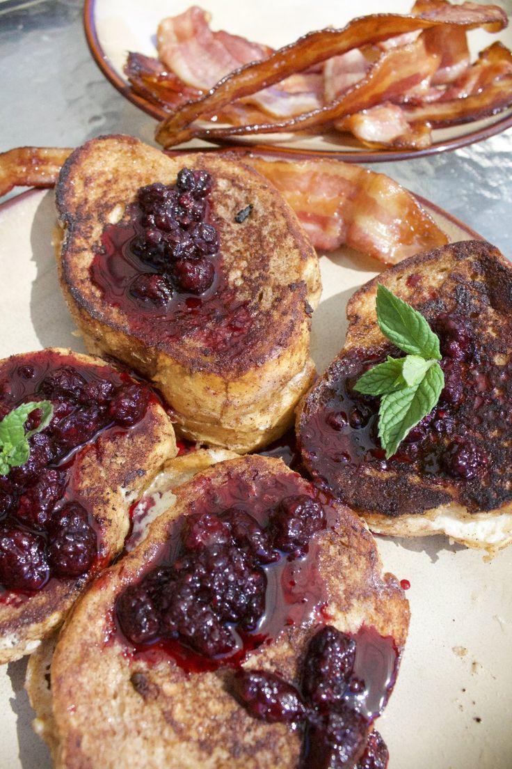 Grilled Mascarpone Stuffed French Toast and Maple Glazed Bacon