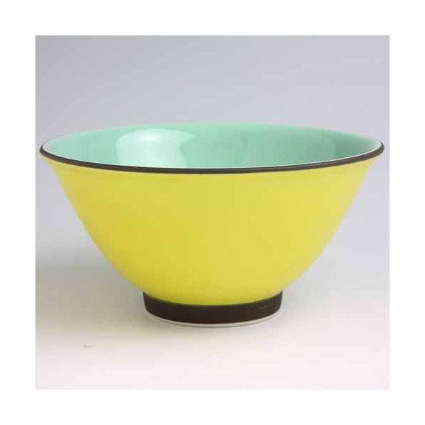 ご飯茶碗 深川製磁 唐焼外黄広型飯碗