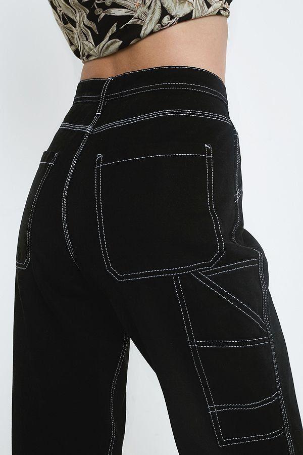 e61b477c095 BDG Black Contrast Stitch Workwear Jeans