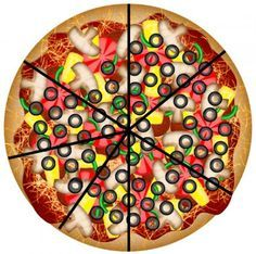 Free printable pizza fraction board game. Found this when I was trying to explain fractions to D. It prints out 5 pizzas and instructions as well as game cards. Perfect!