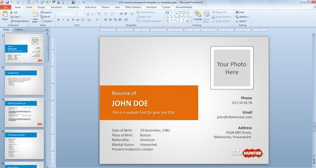 Powerpoint Resume Resume Template For Powerpoint Presentations With Orange
