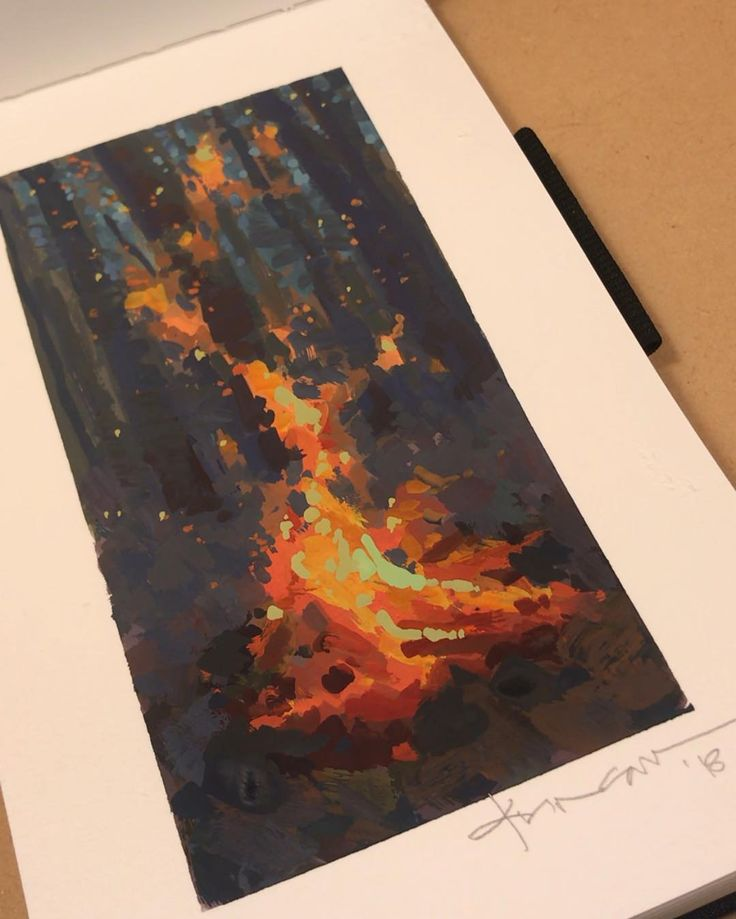"Jeremy Duncan on Instagram: ""Gouache on paper 6×3""  #fire #painting #paints …"