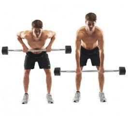 Remo inclinado con barra Inclínate hacia delante con las rodillas flexionadas. Coge la barra, sube hasta la cintura y regresa despacio a la posición inicial.