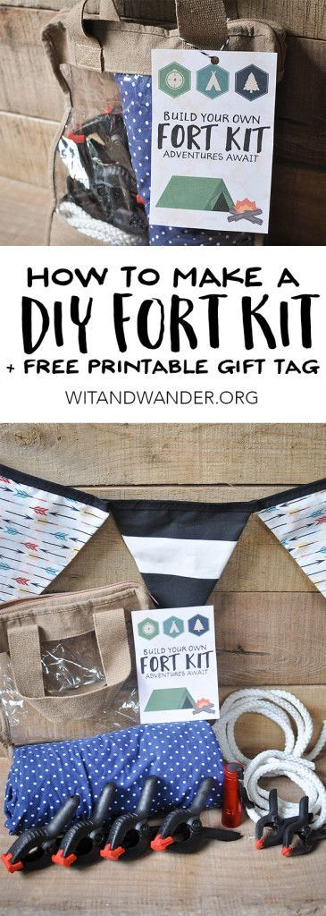 How to make a DIY Fort Kit  The perfect gift idea for kids, high school graduation, and men. This Build Your Own Fort Kit with a free printable checklist and gift tag is the perfect gift for Christmas, birthdays, and everything in between! - Wit & Wander