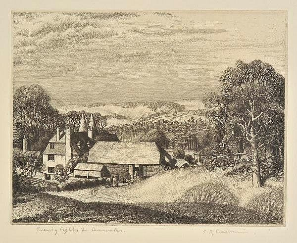 AR Badmin (Stanley Roy, 1906-1989). Evening Light, near Sevenoaks, 1929,  etching on laid paper, from the edition of 40, published by XXI Gallery, signed and titled in pencil, a fine, rich impression, plate size 130 x 166mm (5.1 x 6.5ins), sheet size 191 x 243mm (7.5 x 9.5ins) Beetles 16. (1)