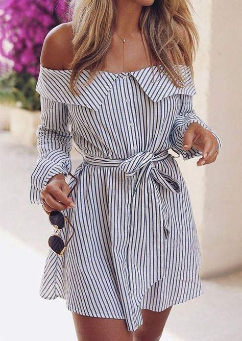 Striped Off Shoulder Mini Dress – Miriam Hernandez