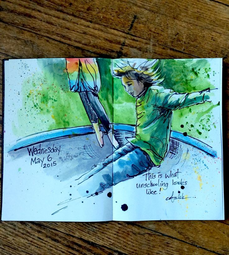 This is what unschooling looks like.  Daily sketch. Illustration of children jumping on trampoline.  Watercolour and ink.