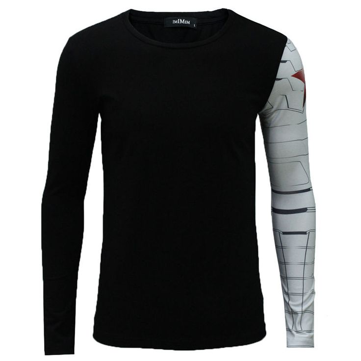 Men Long Sleeve Black T- Shirt Iron Arm Captain America Costume Winter Soldier