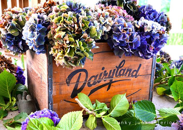 Dried hydrangea dresser... outdoors - Funky Junk Interiors
