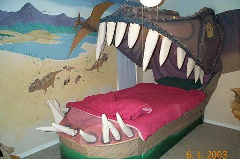 Dinosaur bedroomKids Beds, Kids Bedrooms, Dinosaurs Bedrooms, Kids Room, Awesome Beds, Sweets Dreams, Boys Room, Little Boys, Dinosaurs Room