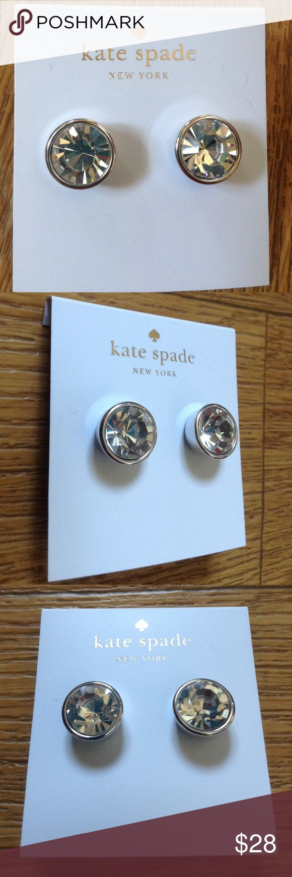 Kate Spade Gumdrop Stud Earrings Silver Diamond NY Authentic!!! Brand new!!! Wow!!! The original price is $38.   Bundle up with my other items to get an extra discount and save on combined shipping!!    🏉👍🏻👠 kate spade Jewelry Earrings