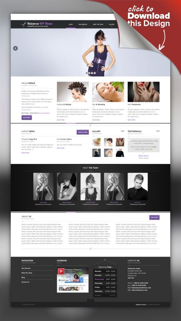 HairPress - WordPress Theme for Hair Salons beauty, business, contact, hair, haircut, local, massage, mobile, responsive, salon, saloon, slider, spa, wellness, wordpress This theme is outdated. Please consider our newer and better theme for hair / beauty salons – BEAUTY (link). HairPress is a premium Wordpress Theme for hair salons, beauty salons, wellness centers or any similar local business website. It is very easy to setup and use....