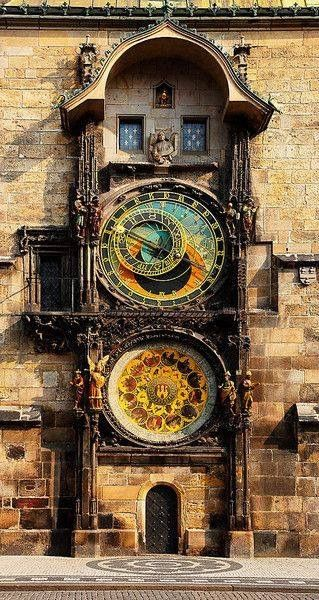 PRAGUE ORLOJ ASTRONOMICAL CLOCK. A medieval astronomical clock the capital of the Czech Republic. ~ The clock was first installed in 1410, making it the third-oldest astronomical clock in the world and the oldest one still operating. ~ The Orloj is mounted on the southern wall of Old Town Hall in the Old Town Square. The clock mechanism itself has three main components: