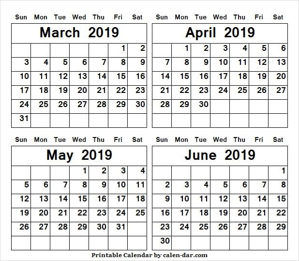 March To June 2019 Month Calendar 4 Month Calendar Template