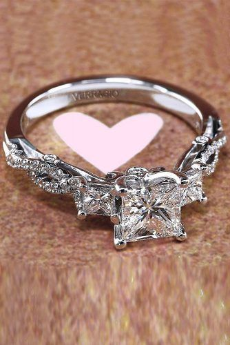 engagement ring designers princess cut diamond twist white gold