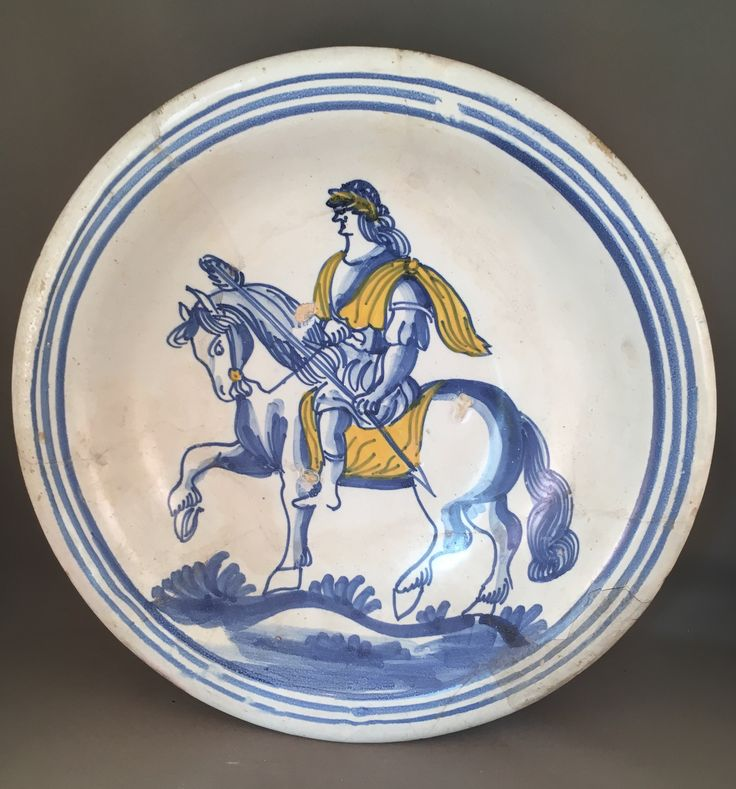 Majolica schotel met Romeinse keizer, Nederland 17e eeuw/ dutch majolica dish with Roman emperor 17th century