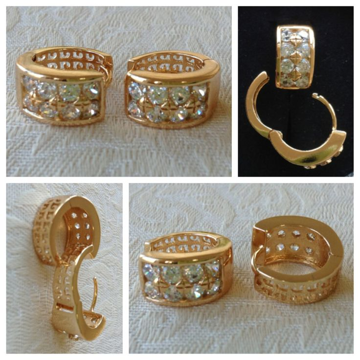 9K yellow gold-filled hoop earrings with cutouts & CZ bling @ AUD$12.00 + postage or local pick up available.