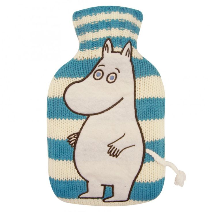 Moomin Hot Water Bottle: Hot water bottle with a knitted cover and a Moomintroll print to help you feel better! $19.14