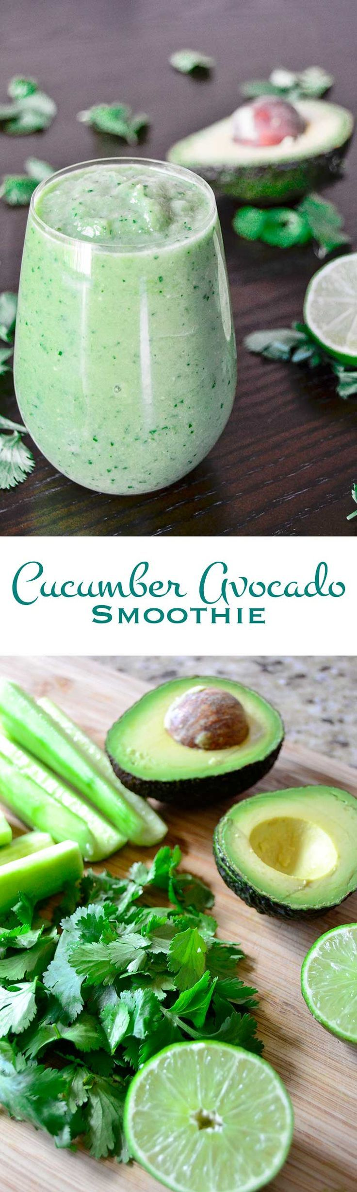 Cucumber Avocado #Smoothie: Buttery avocado, crisp cucumber, earthy cilantro, and bright lime juice combine to make this cucumber avocado smoothie a great way to start your day. #healthy #yummy