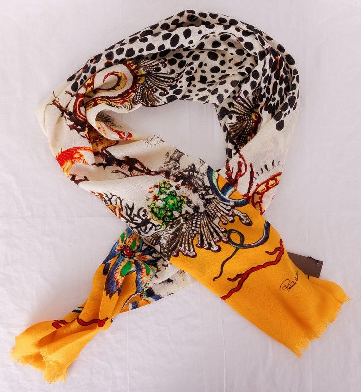 Шарф Roberto Cavalli длинный теплый шерсть + шёлк. Размер 190x65cm #19960