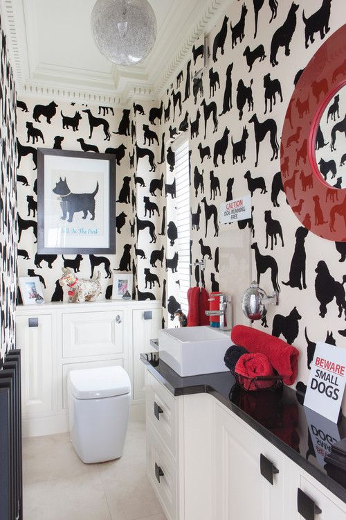 black and white bathroom with red accents | dog themed bathroom | wallpaper | eclectic home decor