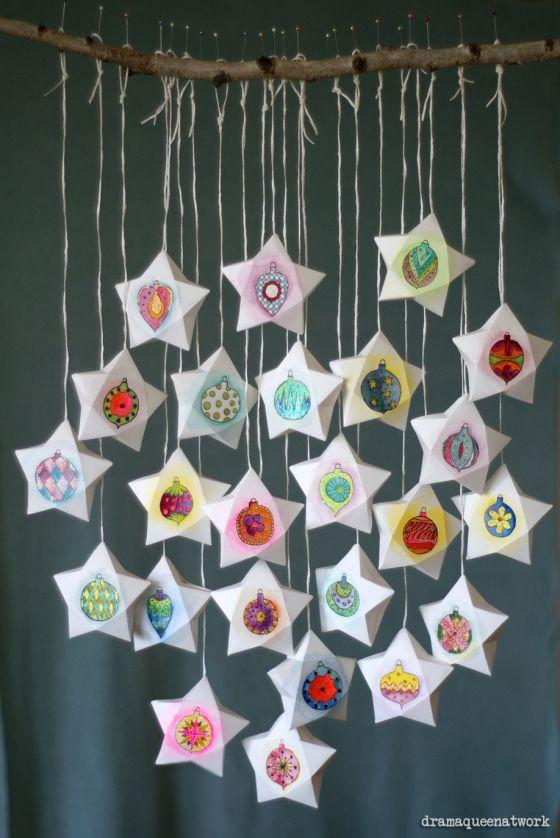 hübscher #DIY #Adventskalender in Sternform für #Kinder