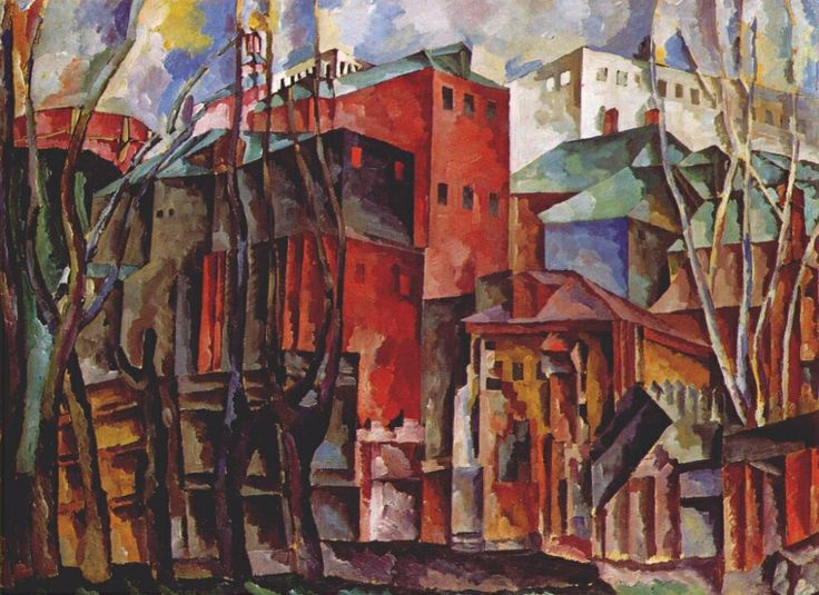 Landscape with dry trees and tall buildings by Aristarkh Lentulov #cubofuturism