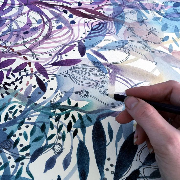 Watercolours and pencil patterned artwork in progress by Helen Wells