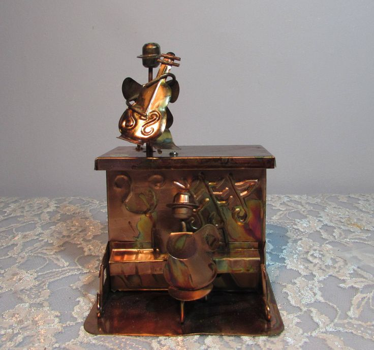 Copper Piano and Cello Player Music Box, Plays the Sting, 1970s by BeanzVintiques on Etsy