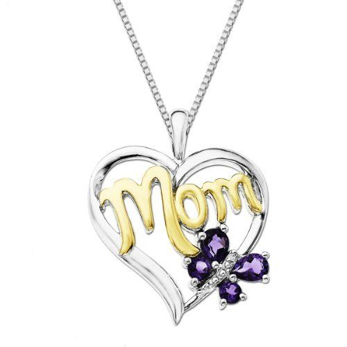 """XPY Amethyst and Diamond-Accent Butterfly Mom Heart Pendant Necklace, 18"""" Amazon Curated Collection. $95.00. This whimsical MOM heart pendant is bright and pretty in classic amethyst with diamond-accent. Made in China. Excellent for all ages and any occasion. Save 52%!"""