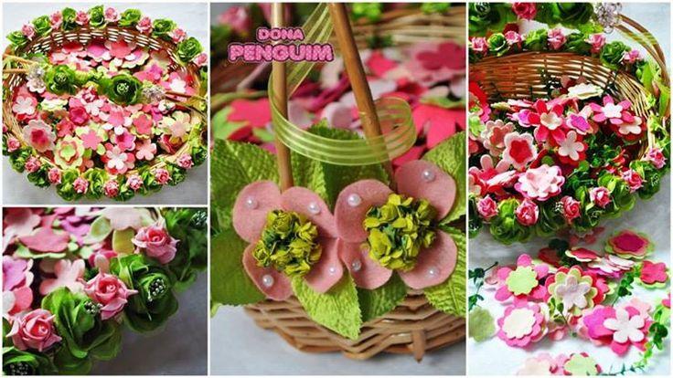 Cesta decorada com 200 flores perfumadas para a dama de honra jogar durante sua entrada na cerimônia do casamento.