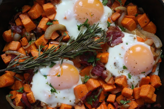 My Green Apron - Sweet Potato Beef Bacon Hash with Eggs