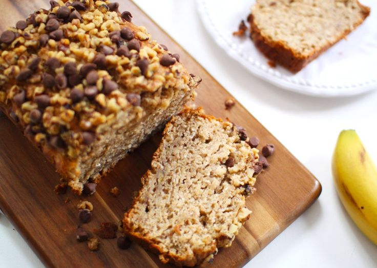 Healthy Banana Bread with Walnuts, Pecans & Chocolate Chips