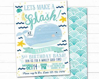 Whale birthday invitations | Etsy