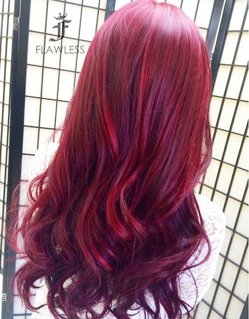 cherry red and purple two-tone hair color