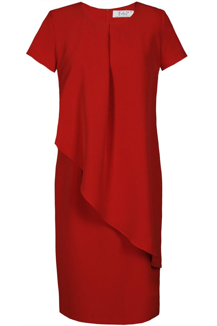Rochie eleganta, midi, cu maneci scurte, decolteu rotund si fermoar la spate.