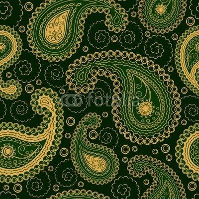 paisley, green type..