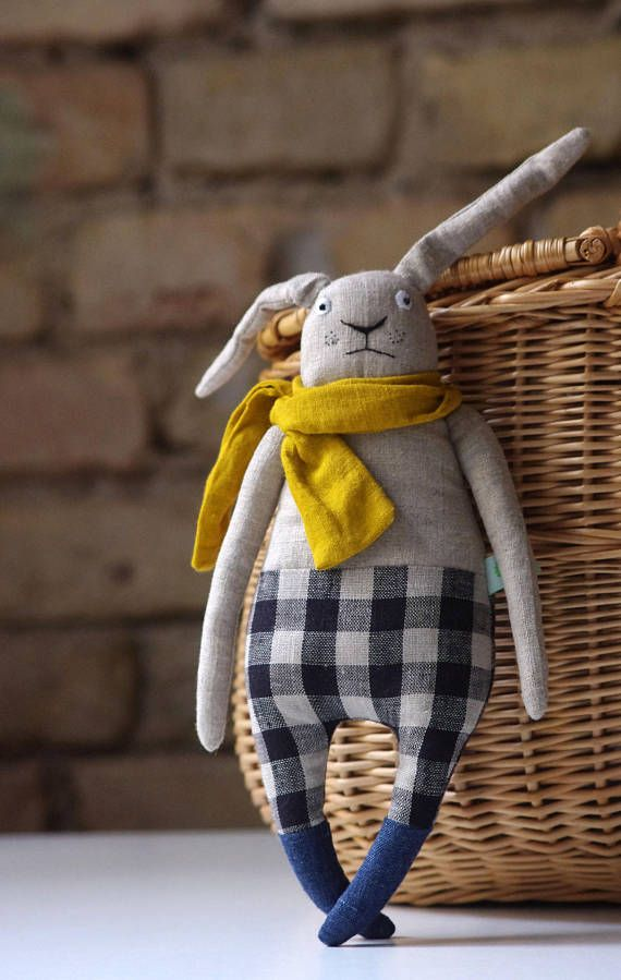 How to know when your rabbit is sad..? Bunny is made from natural linen. Inside – wool. * Hand embroidered body. It is about 33 / 12,9 inch This rabbit can be an excellent birthday gift or home decoration. Please give me 3 – 14 working days to make it. Татьяна Кичигина