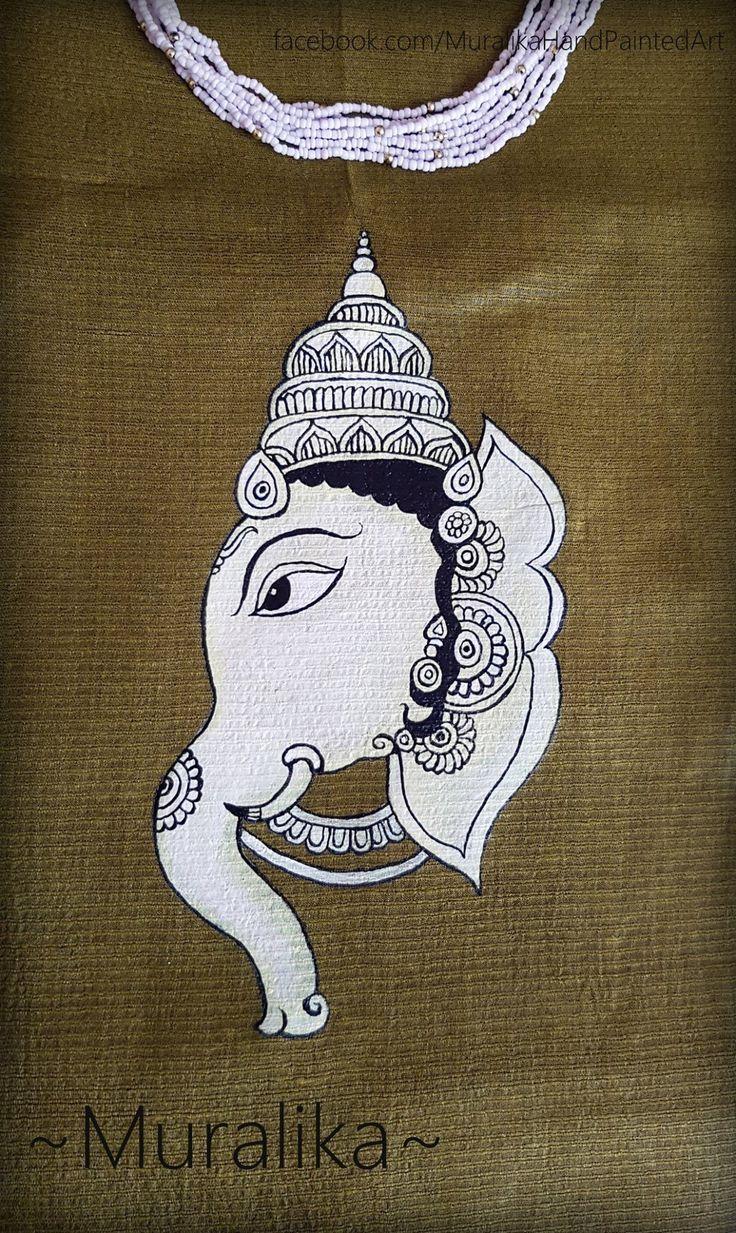 Hand painted Kalamkari style Ganesha on tussar silk fabric