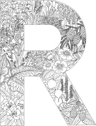 Letter R Coloring page from English Alphabet with Plants